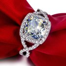 TT 3 carat cushion cut  simulated Gem halo engagement rings for women jewel