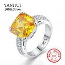 YANHUI 100% Original Solid 925 Silver Rings Jewelry Big Yellow 10mm 5 Carat