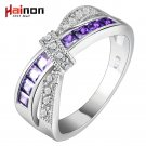 cross finger ring for lady paved cz zircon luxury hot Princess women Weddin