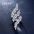 UMODE Brand Olive Leaf Rings for Women White Gold Color Top CZ Crystal Cock