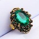 Antique Bronze Vintage Big Stone Crystal Rhinestone Rings For Women Finger