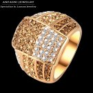 ANFASNI Bijoux Fashion Multi Color Genuine Austrian Crystal Ring Rose Golde