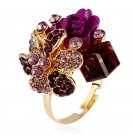 H:HYDE Purple flower ring for women hot sale crystal fashion party ring col