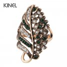 Kinel Fashion Green Crystal Wedding Engagement Rings For Women White Gold C
