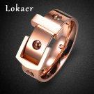 Lokaer New Fashion Belt Buckle Design Stainless Steel Rings Jewelry Romanti