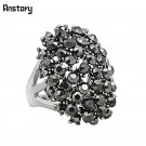 Cluster Flower Plant Rhinestone Rings For Women Personality Silver Plated F