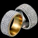 316L Stainless Steel Five Rows Cubic Zircon Women Man Rings Jewelry Luxury