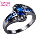 AMORUI Vintage Gold Black Color Royal Blue Green CZ Wedding Rings for Women