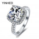 YINHED 100% 925 Sterling Silver Ring Jewelry Stamped S925 Big 4 Carat CZ Di