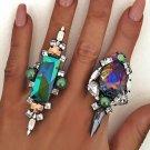Bling Rhinestone Ring Punk Flower Finger Rings For Women Elegant rectangle