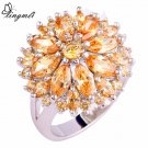 lingmei Wholesale Round Cut Morganite AAA Silver Ring Size 6 7 8 9 10 11 12