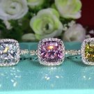 D/VVS1  3 Carat  Cushion Cut  ENGAGEMENT Anniversary RING jewelry yellow st
