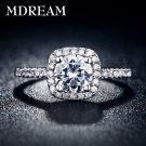 silver Color ring with 3 Carat AAA Zircon  for women wedding Square style r