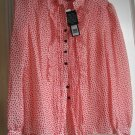Marc Jacobs Red and White Multi Polka Dot Silk 6 Top