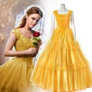 Custom Made Deluxe Beauty and the Beast Belle Princess Yellow Dress Cosplay Costume