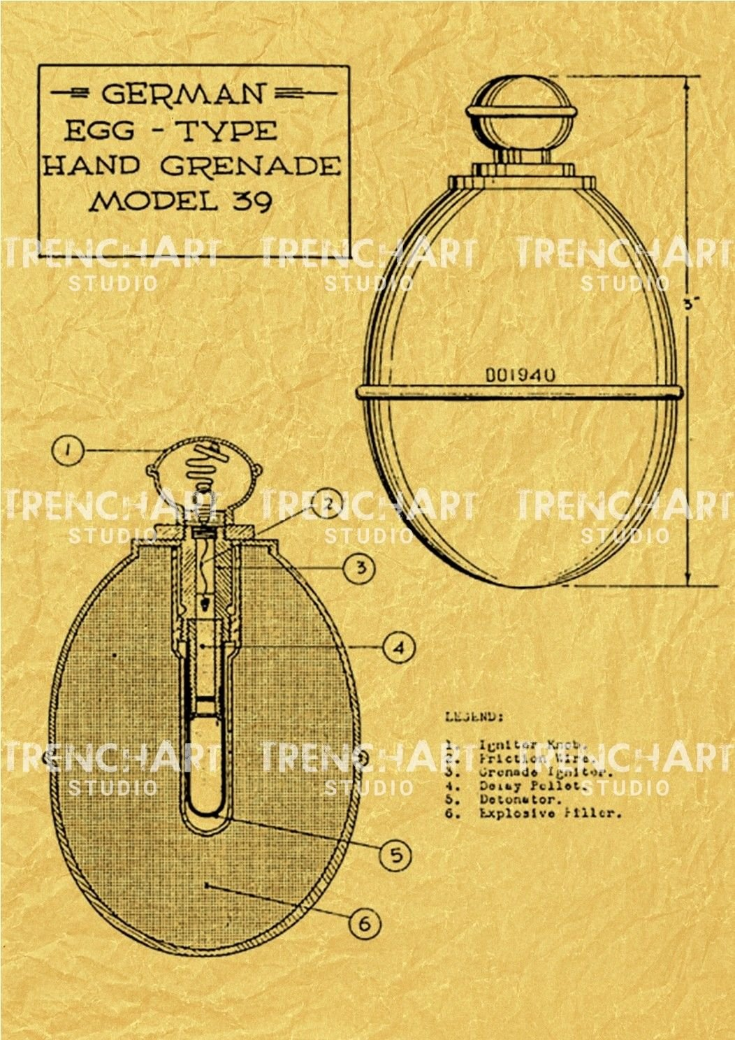Model 39 Hand Grenade WW2 Poster wehrmacht german military decor ...