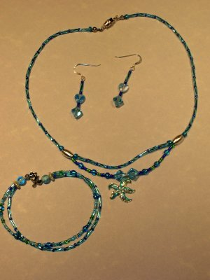 LIGHT BLUE two strand starfish necklace, bracelet and earring set