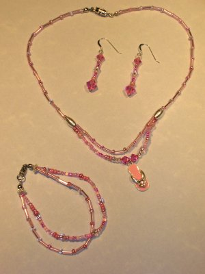 PINK swarovski crystal flip flop pendant necklace set