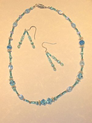 Light Blue Swarovski Crystal, Silver and Bugle beads necklace set