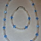 Child's necklace & bracelet set pearls & lt. blue swarovski