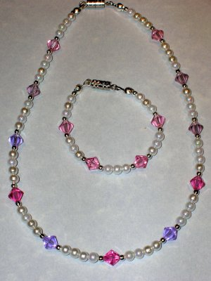 Child's necklace & bracelet set pearls & lavender & pink swarovski