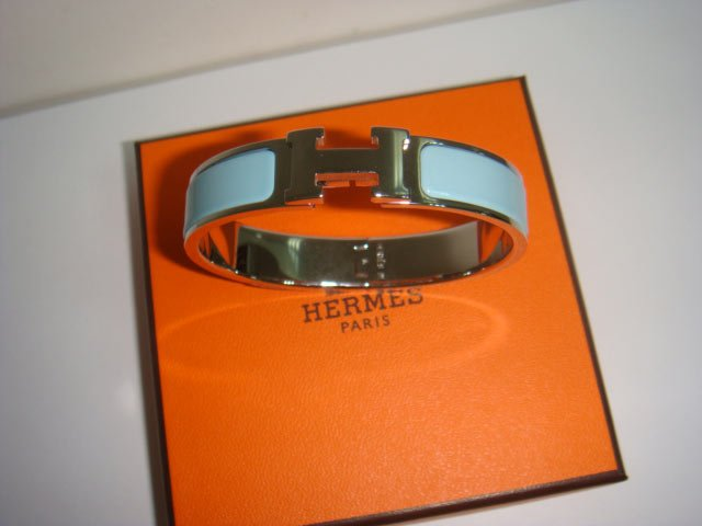 "Hermès ""H"" Enamel Bracelet - Light Blue"