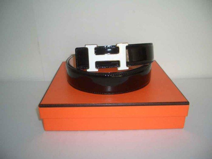 Hermes Belt - Black w/ White Enamel