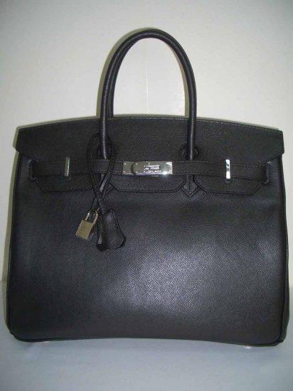 Hermes Birkin 35cm - Black Epsom Leather w/ Silver Hardware (RARE)