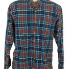 IZOD Mens Western Button Front LS Shirt Sz M Red, Blue, White & Green Plaid