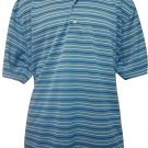 EASE Brand Mens XL Light Blue, Striped, Short Sleeve Polyester Golf Polo Shirt