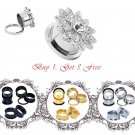 Big Crystal Ear Plugs Expanders Flower Stainless Steel with 3 free Ear Tunn