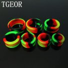 Hot 140pcs round shape silicone rasta color big size ear tunnels mixed 7 ga