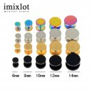 Imixlot 2Pcs 4 Colors Surgical Steel Fake Cheater Ear Plugs Gauge Earrings