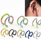 2pcs Clip On Wrap Earring Tragus Stainless Steel 2 Rings Ear Cuff Clip Wome