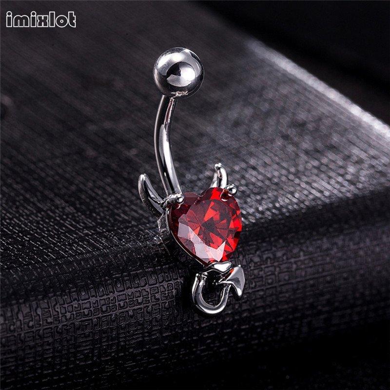 1 Piece 316L Stainless Garnet Heart Zircon Crystal Devil Belly Button Ring