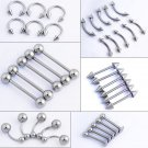 5 pcs/lot Silver Body Jewelry Tongue Eyebrow Lip Belly Navel Piercing Nombr