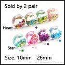 SHUIMEI 2 Pair Acrylic Liquid Ear Expander Saddle With Star,Heart Logo Ear