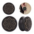 New Style 2PCS Black Natural Wood Mandala Flower Ear Plugs Tunnels Ear Expa