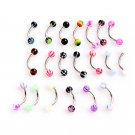 1PC *20 Color Surgical Stainless Steel Eyebrow Nose Lip Captive Bead Ring T