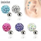 2Pcs 3 4 5mm Crystal Ball Earrings Surgical Steel Ear Plugs Eyebrow Piercin