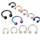 Sale 2 Pcs Stainless Steel Nostril Nose Ring Sircular Piercing Ball Horsesh
