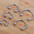 Wholesales 100pcs/lot  Mix 5 Size Stainless Steel Hot Sale Nose Body Jewelr
