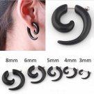 3   8 mm 2pcs/lot 2016 New Black Spiral Fake Ear Plug Flesh Plugs cheater T