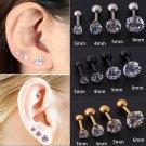 Starbeauty 1.2*6+3/4/5/6mm Round Zircon Lobe Conch Upper Cartilage Stud Ear