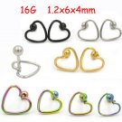 Isayoe 2 Pieces 16G Stainless Steel Hollow Heart Tragus Helix Ear Piercing