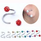 1 Piece Free shipping Full Crystal S Shaped nose ring Spiral Twister Rings