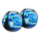 1 pair = 2 pieces  Starry Night  plug gauges black acrylic screw flesh tunn