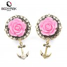 BODY PUNK 2Pcs 3D Pink Rose Gold Anchor Ear Tunnel Earring Stainless Steel