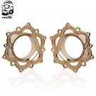 New A Pair New Lotus Tribal Brass Flesh Tunnel Double Flared Ear Plugs Expa