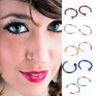 Trendy punk Piercing Nose Hoop Nose Rings 6 8 10mm Size Blue Black Silver C